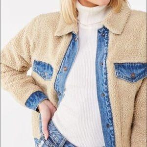 Denim & faux shearling reversible jacket